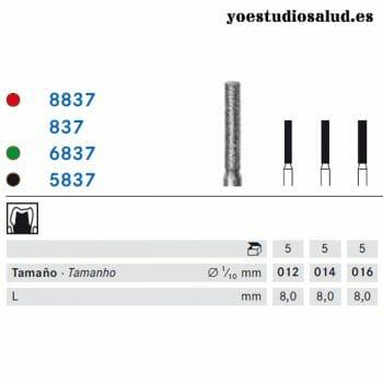 FRESA DIAMANTE KOMET FORMA 837 (PARALELA CON HOMBRO 8 MM)